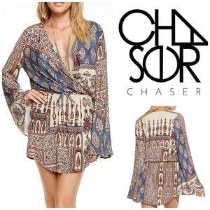 CHASER Boho Bell Sleve Mini Dress